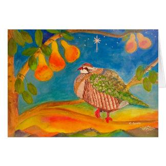 Cartão Perdiz em uma árvore de pera no amanhecer do Natal