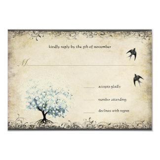 Cartão Pergaminho azul da pérola dos pássaros do vintage