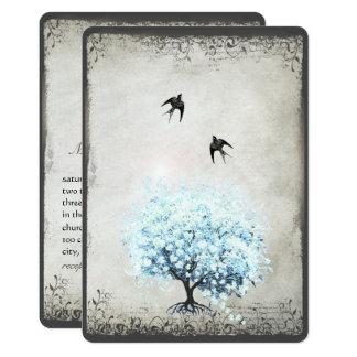 Cartão Pergaminho azul da prata do pássaro do vintage da