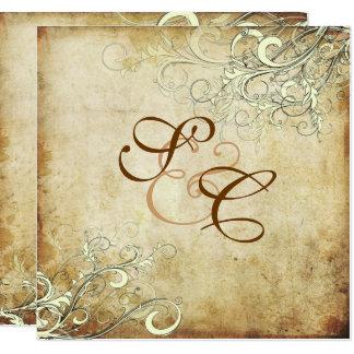 Cartão Pergaminho do CREME SWIRLS/Faux do VINTAGE de