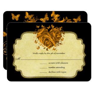 Cartão Pergaminho metálico do falso do ouro do coração do