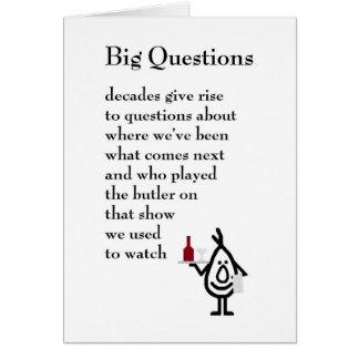 Cartão Perguntas grandes - um seventieth poema engraçado