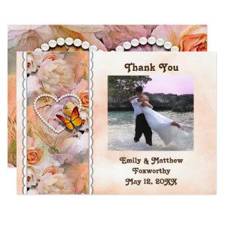 Cartão Pérolas do coração, rosas alaranjados & obrigado