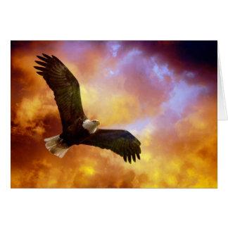 Cartão Perseverança-Eagle em nuvens Notecard vazio de
