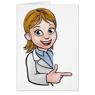 Cartão Personagem de desenho animado do cientista que