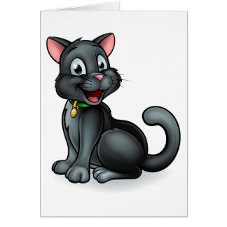 Cartão Personagem de desenho animado do gato preto