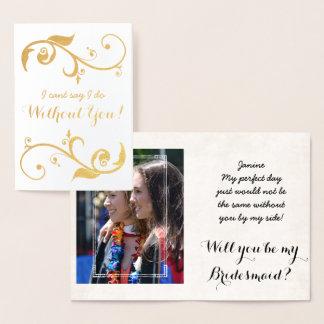 Cartão personalizado da dama de honra da folha de