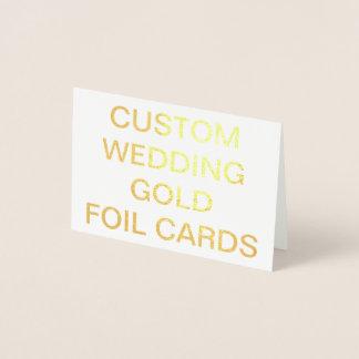 Cartão personalizado da folha de ouro do casamento