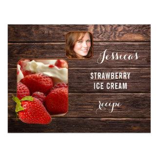 Cartão personalizado da receita da morango da foto