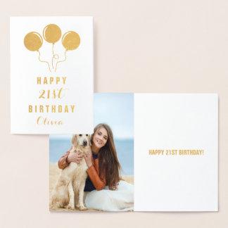 Cartão personalizado do aniversário de 21 anos da