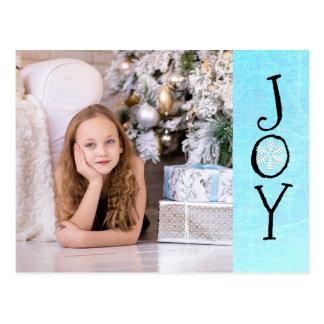 Cartão personalizado do azul da alegria do Natal