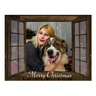 Cartão personalizado do Natal da janela da foto