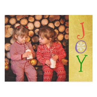 Cartão personalizado do ouro da alegria do Natal