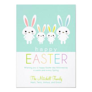 Cartão personalizado dos coelhinhos da Páscoa Convite 12.7 X 17.78cm