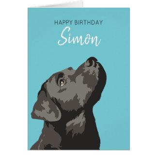Cartão personalizado Labrador preto do feliz