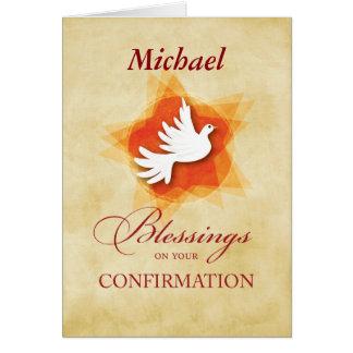 Cartão Personalize a pomba dos parabéns da confirmação