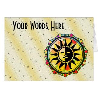 Cartão Personalize este motivo multicolorido de Sun
