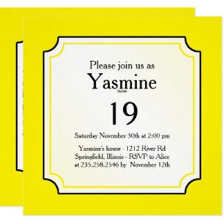 Cartão Personalize: Iniciais corajosas amarelas/brancas