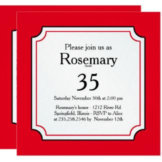 Cartão Personalize: Iniciais corajosas vermelhas/brancas