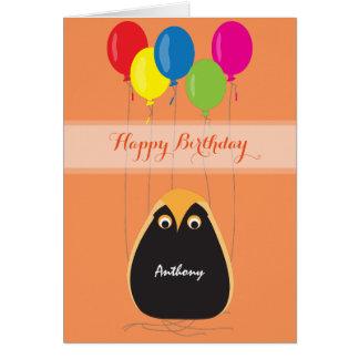 Cartão Personalize o feliz aniversario com uma coruja