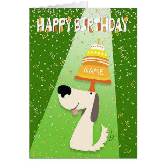 Cartão Personalize o nome - cão do divertimento e bolo de