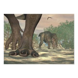Cartão Pés do dinossauro do rex do tiranossauro - 3D