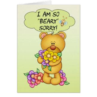 """Cartão pesaroso """"Beary"""" pesaroso com urso e flores"""