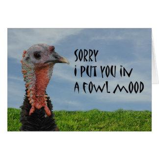 Cartão pesaroso da desculpa feia engraçada de Turq