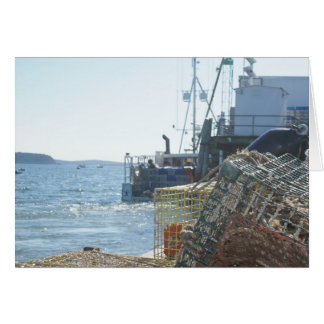 Cartão Pesca da lagosta no porto do bar
