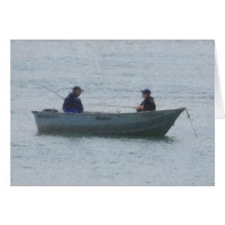 Cartão Pesca do homem e do menino