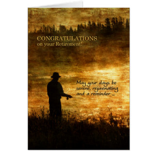 Cartão Pesca do pescador dos parabéns da aposentadoria