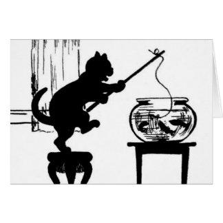 Cartão Pesca preta/branca do gato da silhueta nos peixes