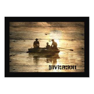Cartão Pesca primitiva da canoa do barco do lago do país