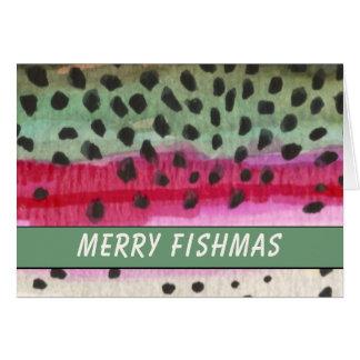 Cartão Pescador alegre da truta de Fishmas