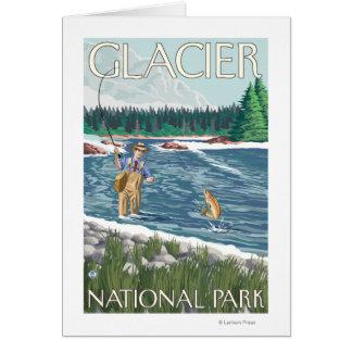 Cartão Pescador da mosca - parque nacional de geleira, TA