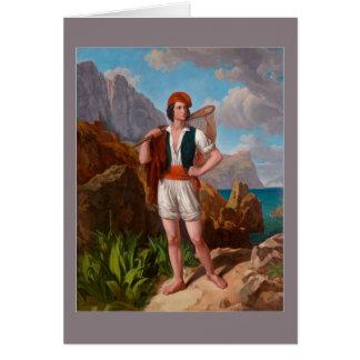 Cartão Pescador na costa de Amalfi por Ebert