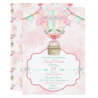 Cartão Pêssego da hortelã do rosa da aguarela do balão de