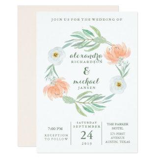 Cartão Pêssego delicado floral e eucalipto   que Wedding