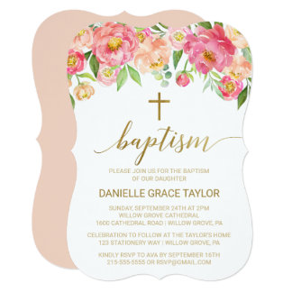 Cartão Pêssego e baptismo cor-de-rosa das flores da