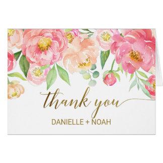 Cartão Pêssego e flores cor-de-rosa da peônia que Wedding