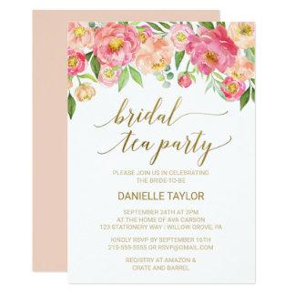 Cartão Pêssego e tea party nupcial das flores cor-de-rosa