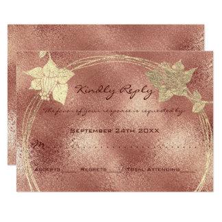 Cartão Pêssego floral da grinalda do ouro cor-de-rosa do