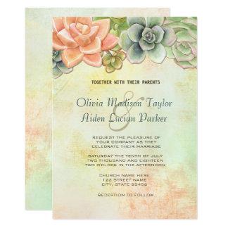 Cartão Pêssego floral do casamento da aguarela do