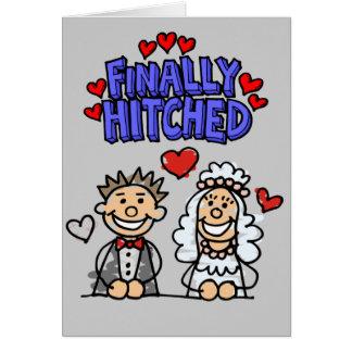 Cartão Pessoas dos noivos da vara engatados finalmente