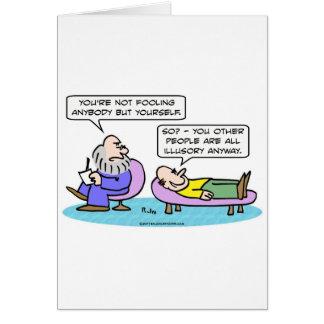 Cartão pessoas enganar ilusório do psiquiatra