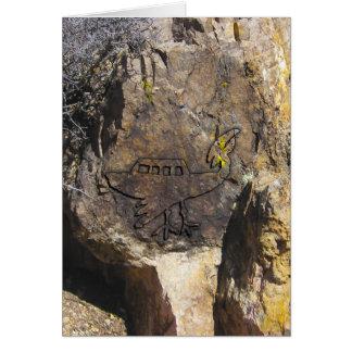 Cartão Petroglyph do objeto de vôo não identificado