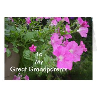 Cartão Petúnias para o excelente - avós