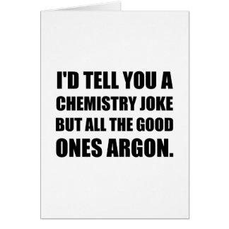 Cartão Piada da química as boas argônio