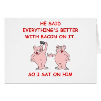 Cartão piada do bacon