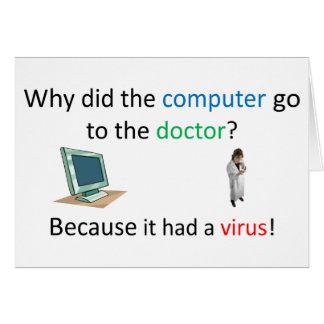 Cartão Piada do vírus de computador